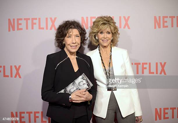 Lily Tomlin and Jane Fonda attend Netflix's Grace Frankie QA Screening Event at Pacific Design Center on May 26 2015 in West Hollywood California