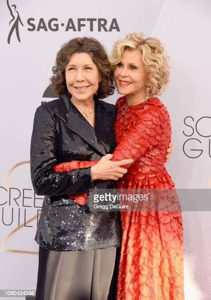 Lily Tomlin and Jane Fonda attend the 25th Annual Screen Actors Guild Awards at The Shrine Auditorium on January 27 2019 in Los Angeles California...