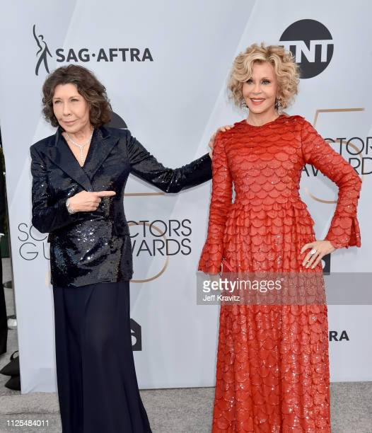 Lily Tomlin and Jane Fonda attend the 25th Annual Screen ActorsGuild Awards at The Shrine Auditorium on January 27 2019 in Los Angeles California