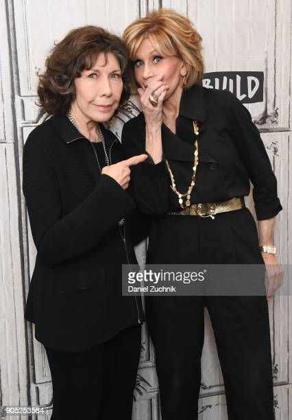 Lily Tomlin and Jane Fonda attend the Build Series to discuss the new season of the Netflix show 'Grace and Frankie' at Build Studio on January 15...