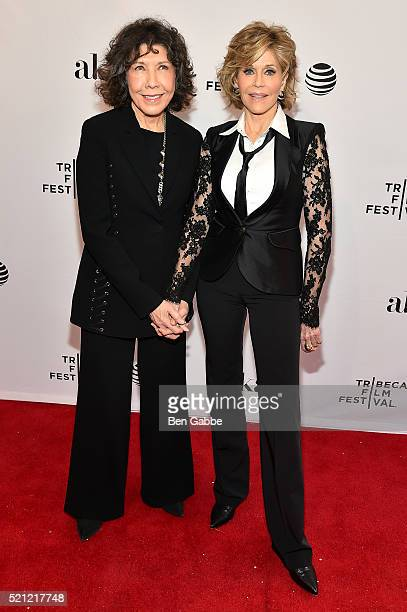Lily Tomlin and Jane Fonda attends the Tribeca Tune In Grace And Frankie 2016 Tribeca Film Festival at SVA Theatre 1 on April 14 2016 in New York City