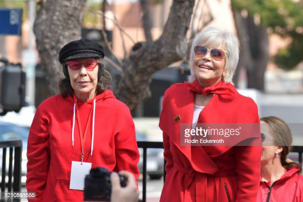 Lily Tomlin and Jane Fonda onstage at Greenpeace USA Brings Fire Drill Fridays To California at San Pedro City Hall on March 06, 2020 in Wilmington,...