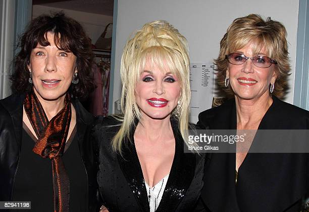 Lily Tomlin Jane Fonda and Dolly Parton pose backstage at The Opening Night of Dolly Parton's 9 to 5 at The Ahmanson Theater on September 20 2008 in...