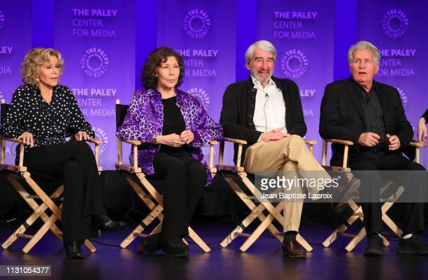Lily Tomlin Jane Fonda Sam Waterston and Martin Sheen attend the Paley Center For Media's 2019 PaleyFest LA Grace And Frankie on March 16 2019 in Los...