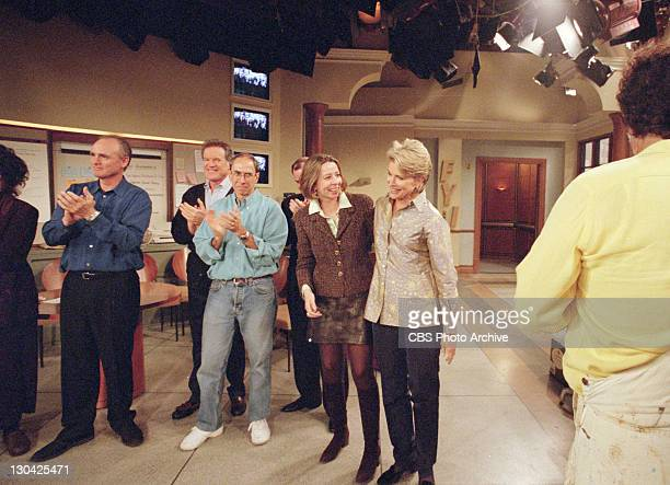 BROWN Lily Tomlin Joe Regalbuto Charles Kimbrough two men unidentified Diane English the executive producer hugging Candice Bergen Robert Pastorelli...