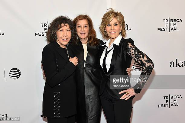 "Lily Tomlin; Paula Weinstein and Jane Fonda attends the Tribeca Tune In: ""Grace And Frankie"" - 2016 Tribeca Film Festival at SVA Theatre 1 on April..."