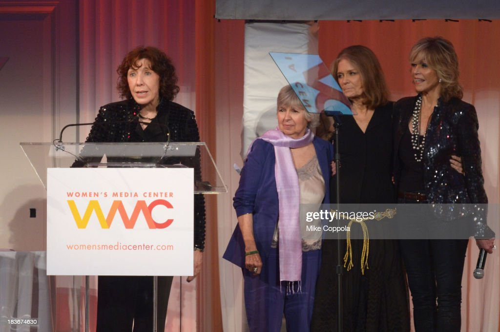 Lily Tomlin, Robin Morgan, Gloria Steinem and Jane Fonda speak onstage at the 2013 Women's Media Awards on October 8, 2013 in New York City.