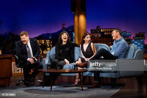 Lily Tomlin Sarah Hyland and Luke Evans chat with James Corden during 'The Late Late Show with James Corden' Monday January 29 2018 On The CBS...