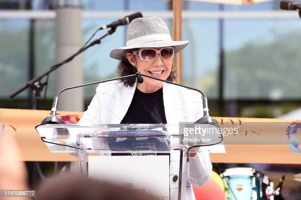 Lily Tomlin speaks onstage at the grand opening of the Los Angeles LGBT Center's Anita May Rosenstein Campus on April 07, 2019 in Los Angeles,...