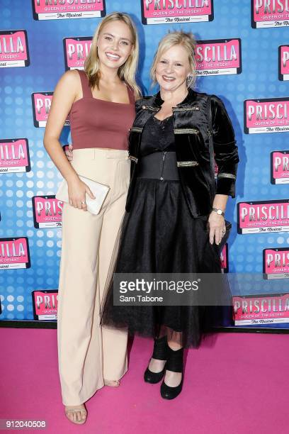 Lily Van Der Meer and Collette Mann arrive for opening night of Priscilla Queen Of The Desert at Regent Theatre on January 30, 2018 in Melbourne,...