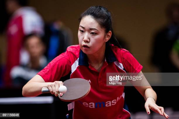 Lily Zhang of USA competes during Women Single second round at Table Tennis World Championship at Messe Duesseldorf on June 1 2017 in Dusseldorf...