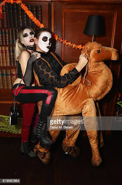 Lilyella Zender and Melanie Blatt attend Fran Cutler's Halloween Party supported by Belvedere Vodka at Albert's Club on October 31 2016 in London...