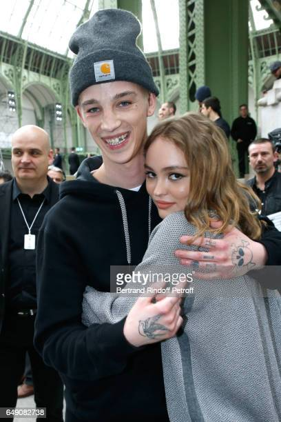 LilyRose Depp and Ash Stymest attend the Chanel show as part of the Paris Fashion Week Womenswear Fall/Winter 2017/2018 on March 7 2017 in Paris...