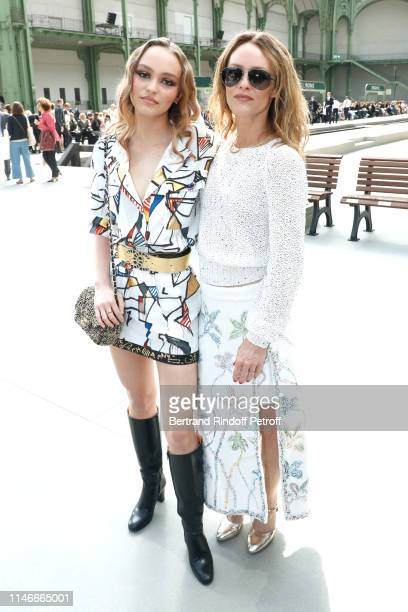 Lily-Rose Depp and her mother Vanessa Paradis attend the Chanel Cruise Collection 2020 : Front Row at Le Grand Palais on May 03, 2019 in Paris,...