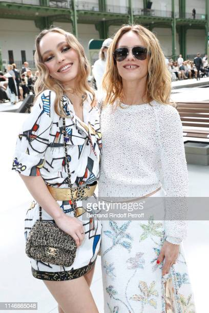 LilyRose Depp and her mother Vanessa Paradis attend the Chanel Cruise Collection 2020 Front Row at Le Grand Palais on May 03 2019 in Paris France