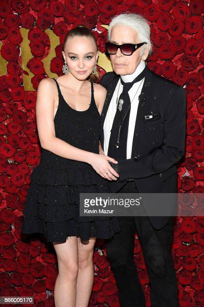 LilyRose Depp and Karl Lagerfeld attend 2017 WWD Honors at The Pierre Hotel on October 24 2017 in New York City