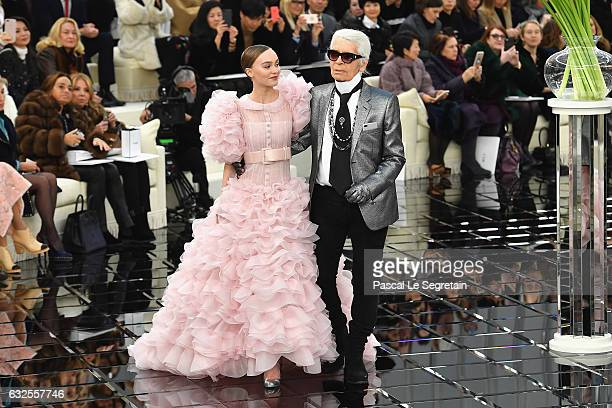 LilyRose Depp and Karl Lagerfeld walk the runway during the Chanel Spring Summer 2017 show as part of Paris Fashion Week on January 24 2017 in Paris...