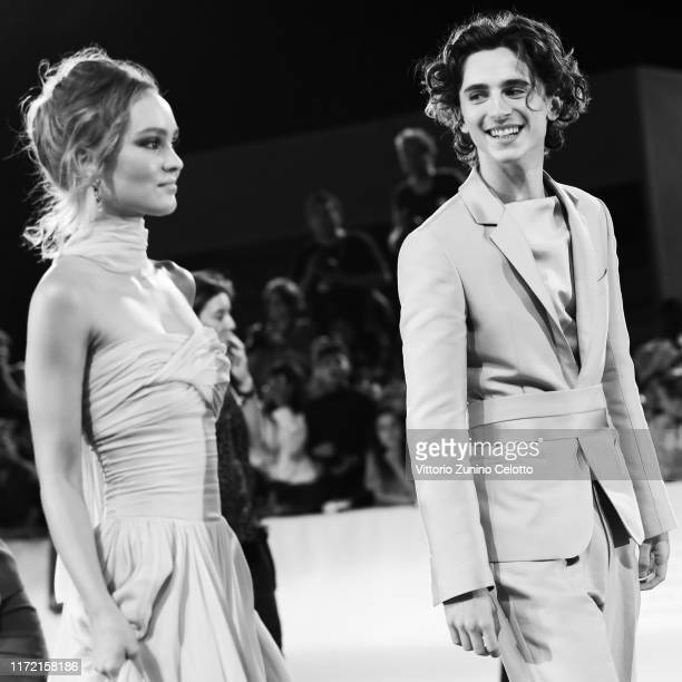 LilyRose Depp and Timothee Chalamet attend The King red carpet during the 76th Venice Film Festival at Sala Grande on September 02 2019 in Venice...