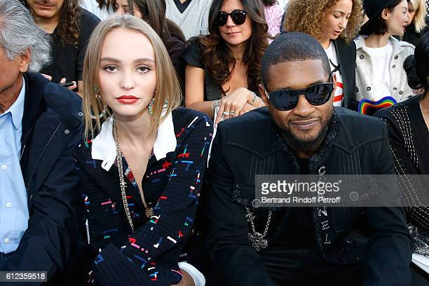 LilyRose Depp and Usher attend the Chanel show as part of the Paris Fashion Week Womenswear Spring/Summer 2017 on October 4 2016 in Paris France