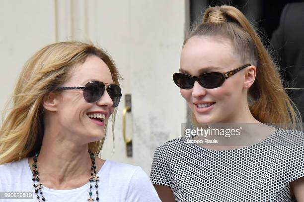 LilyRose Depp and Vanessa Paradis are seen arriving at Chanel Fashion Show during Haute Couture Fall Winter 2018/2019 on July 3 2018 in Paris France