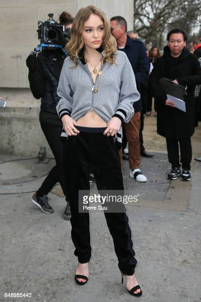 LilyRose Depp arrives at the Chanel show as part of the Paris Fashion Week Womenswear Fall/Winter 2017/2018 on March 7 2017 in Paris France
