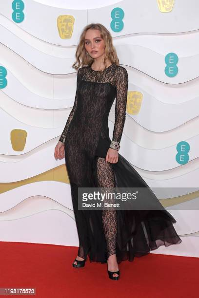 LilyRose Depp arrives at the EE British Academy Film Awards 2020 at Royal Albert Hall on February 2 2020 in London England