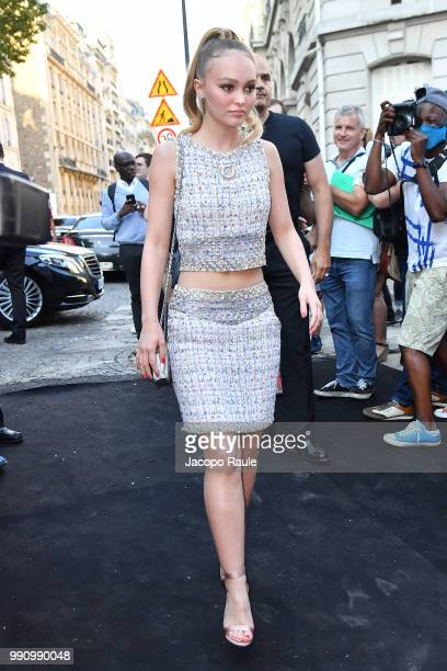 LilyRose Depp arrives at the 'Vogue Foundation Dinner 2018' at Palais Galleria on July 3 2018 in Paris France