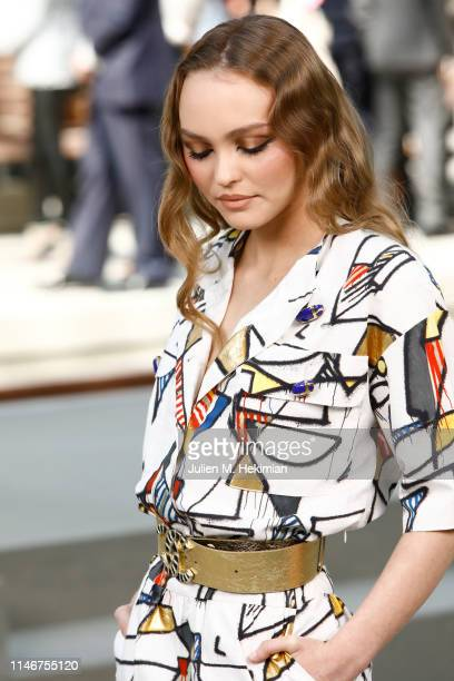 LilyRose Depp attends the Chanel Cruise 2020 Collection Photocall In Le Grand Palais on May 03 2019 in Paris France