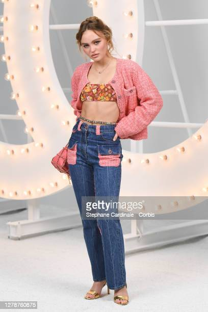 Lily-Rose Depp attends the Chanel Womenswear Spring/Summer 2021 show as part of Paris Fashion Week on October 06, 2020 in Paris, France.