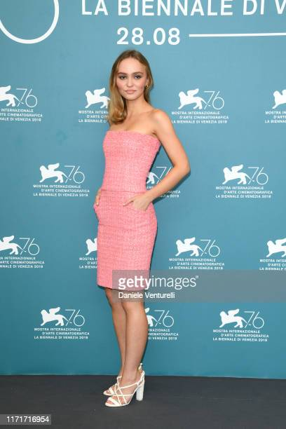 """Lily-Rose Depp attends """"The King"""" photocall during the 76th Venice Film Festival at Sala Grande on September 02, 2019 in Venice, Italy."""