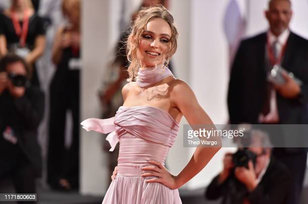 """Lily-Rose Depp attends """"The King"""" red carpet during the 76th Venice Film Festival at Sala Grande on September 02, 2019 in Venice, Italy."""