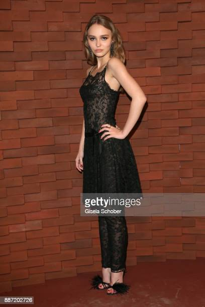 """Lily-Rose Depp, daughter of Johnny Depp and Vanessa Paradis during the Chanel """"Trombinoscope"""" Collection des Metiers d'Art 2017/18 photo call at..."""