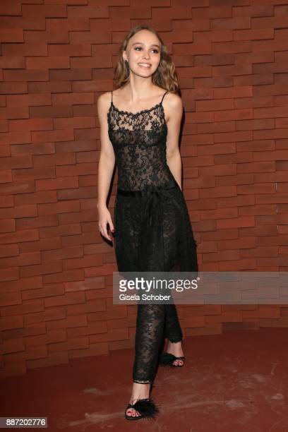LilyRose Depp daughter of Johnny Depp and Vanessa Paradis during the Chanel 'Trombinoscope' Collection des Metiers d'Art 2017/18 photo call at...