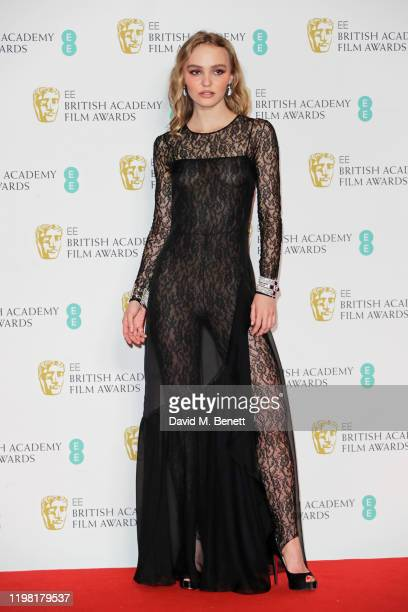 LilyRose Depp poses in the Winners Room at the EE British Academy Film Awards 2020 at Royal Albert Hall on February 2 2020 in London England