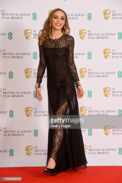 Lily-Rose Depp poses in the Winners Room during the EE British Academy Film Awards 2020 at Royal Albert Hall on February 02, 2020 in London, England.