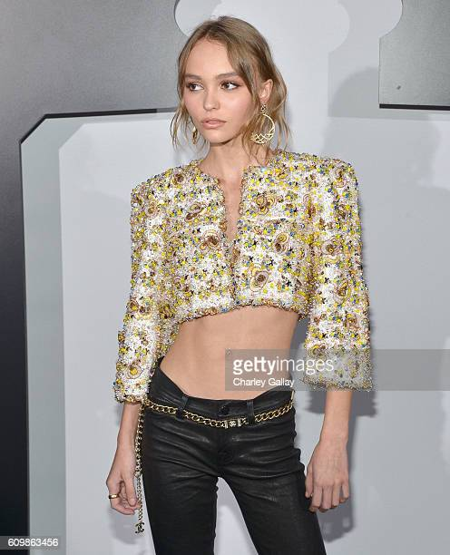 LilyRose Depp wearing Chanel attends the Chanel dinner celebrating N°5 L'Eau with LilyRose Depp at Sunset Tower Hotel on September 22 2016 in West...