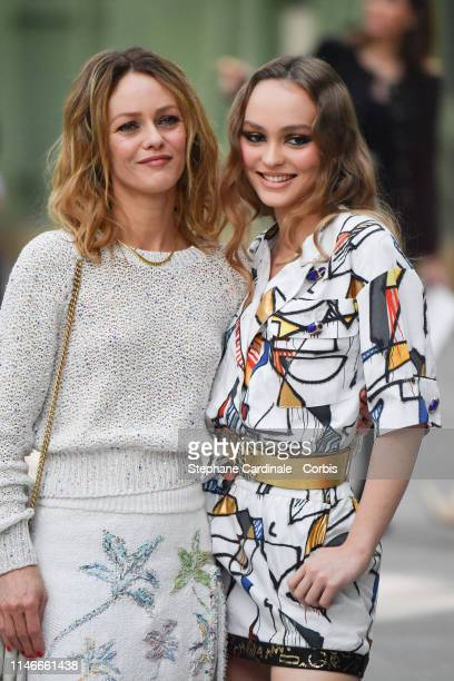 LilyRose Depp with her mother Vanessa Paradis attend the Chanel Cruise Collection 2020 Front Row At Grand Palais on May 03 2019 in Paris France