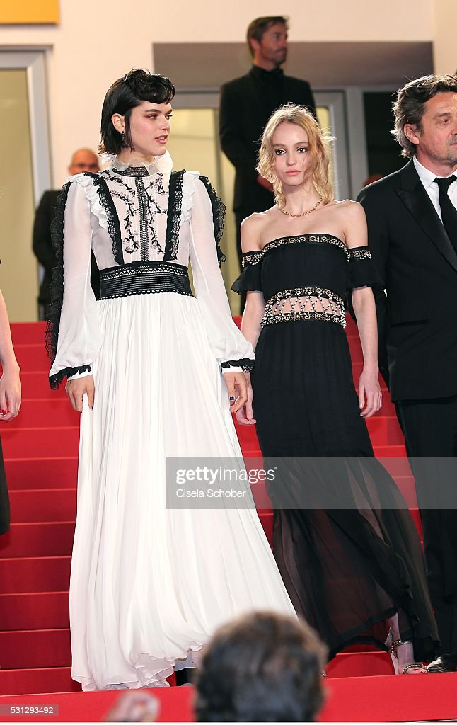 Lily-Rose Melody Depp, daughter of Johnny Depp, and Soko (L) attend the 'I, Daniel Blake (Moi, Daniel Blake)' premiere during the 69th annual Cannes Film Festival at the Palais des Festivals on May 13, 2016 in Cannes, France.