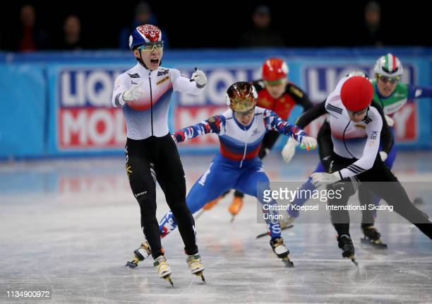 Lim Hyo Jun of Republic of Korea celebrates winning the during the men 1000 meter final A of the ISU World Short Track Speed Skating Championships...