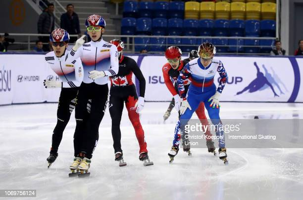 Lim Hyo Jun of South Korea celebrates his victory of the men 1500 meter final A race of the ISU Short Track World Cup Day 1 at Halyk Arena on...