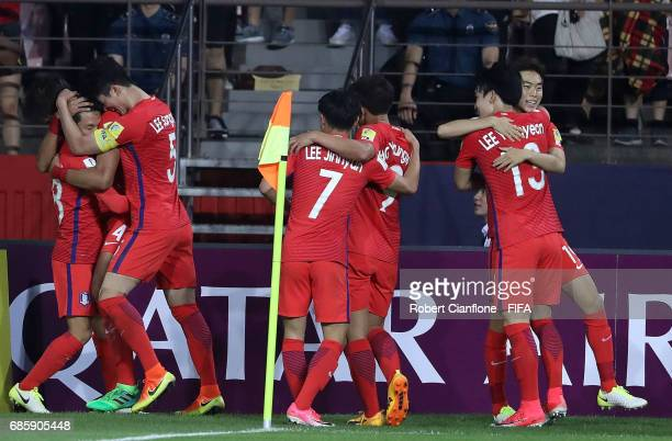 Lim Minhyeok of Korea Republic celebrates with teammates after scoring a goal during the FIFA U-20 World Cup Korea Republic 2017 group A match...