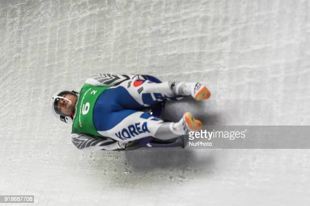 Lim Namkyu of South Korea competing in luge Team Relay Competition at Olympic Sliding Centre at Pyeongchang South Korea on February 15 2018