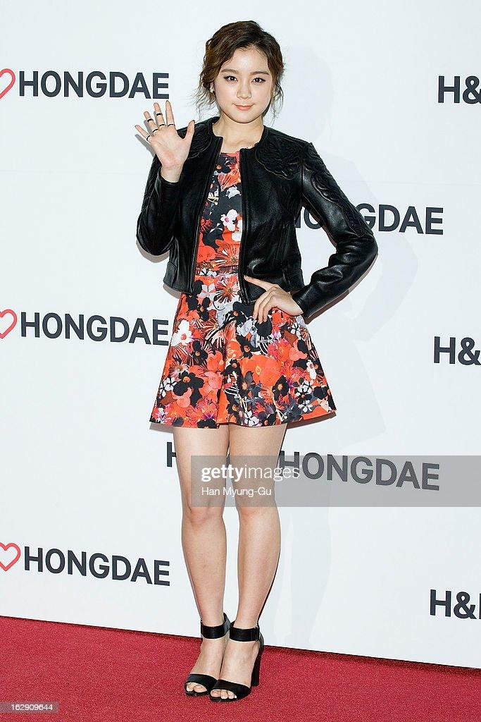 Lim of South Korean girl group Wonder Girls attends the H&M (Hennes & Mauritz AB) Hongik University Store Opening on February 28, 2013 in Seoul, South Korea.
