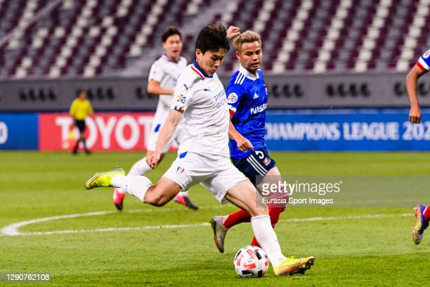 Lim Sanghyub of Suwon Samsung attempts a kick during the AFC Champions League Round of 16 match between Yokohama F.Marinos and Suwon Samsung...