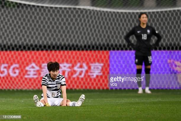 Lim Seon-joo of South Korea reacts after the Tokyo Olympics Women's Football Asian Final Qualifier 2nd leg match between China and South Korea at the...