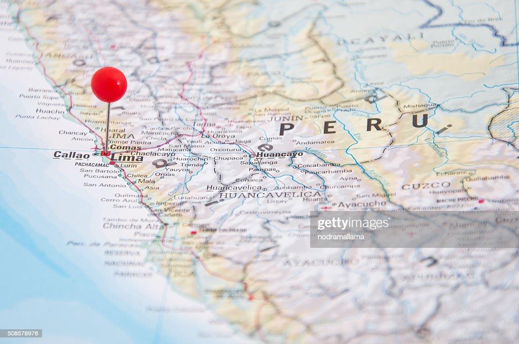 Lima, Brazil, Yellow Pin, Close-Up of Map. : Stock Photo