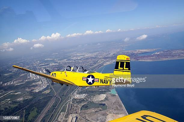 Lima Lima Flight Team pilot Mark Miller practices stunts during rehearsals for Chicago's 52nd Annual Air Water Show at the Gary Jet Center in Gary...