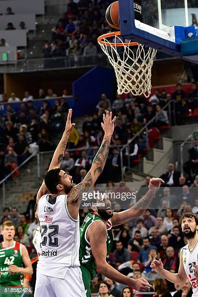 Lima of Real Madrid Ioannis Bourousis #9 of Laboral Kutxa Vitoria Gasteiz in action during the 20152016 Turkish Airlines Euroleague Basketball Top 16...