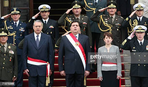 Peruvian President Alan Garcia his ministers of Defense Alan Wargner and Interior Pilar Mazzetti and military authorithies take part in ceremony at...