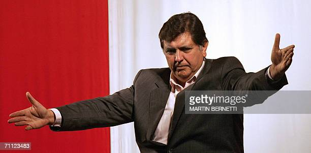 Presidential candidate Alan Garcia of the American Popular Revolutionary Alliance gestures during a meeting to proclaim his victory in Lima 04 June...
